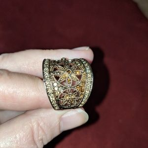 Art deco vintage style amber antique ring